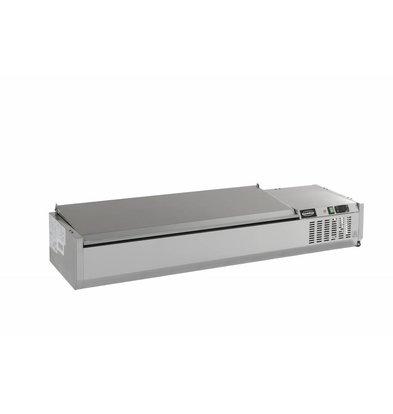 Combisteel Aufsatzkühlvitrine Edelstahl Deckel | 5x 1/4GN | 1200x335x(h)225mm | 230V-0,34kW