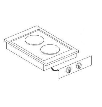 Combisteel Drop-In Elektroherd | 2 Kochflächen | 2x2kW | Ø2x 180mm | 400x557mm | 230V