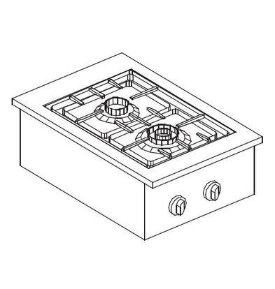 Combisteel Drop-In Gasherd   2 Brenner   1x 3,5-1x 6kW   400x557mm