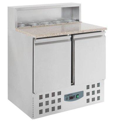 Combisteel Pizzatisch Edelstahl | 2 Türen | 900x700x(h)1100mm | 5 x 1/6 GN