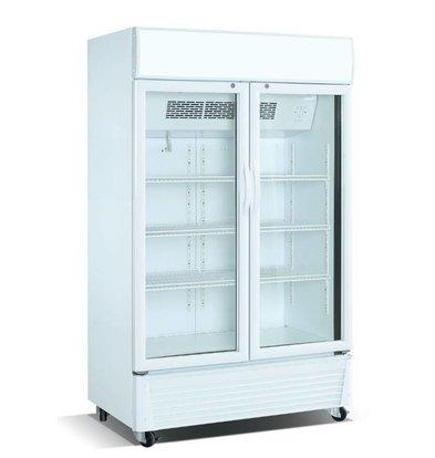 Combisteel Kühlschrank Weiß | 585 Liter | Glastüren | 1100x510x(h)1860mm