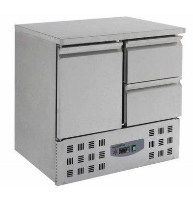 Combisteel Kühltisch Edelstahl   1 Tür+2 Schubladen   900x700x(h)875mm
