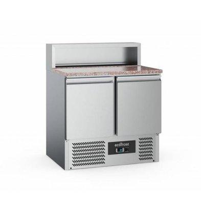 Ecofrost Pizzatisch | 2 Türen | 900x700x(h)1080mm | 5x 1/6 GN