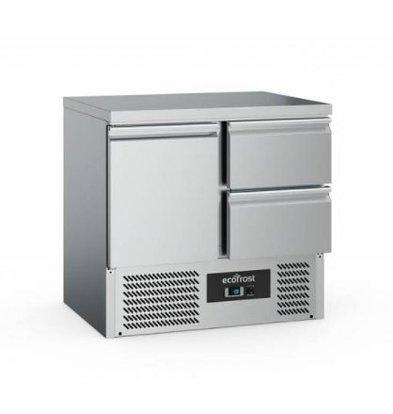 Ecofrost Kühltisch Edelstahl | 1 Tür+ 2 Schubladen | 230 Liter | 900x700x(h)850mm