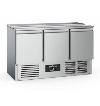 Ecofrost Saladette Edelstahl | 3 Türen | 368 liter | 1370x700x(h)880mm