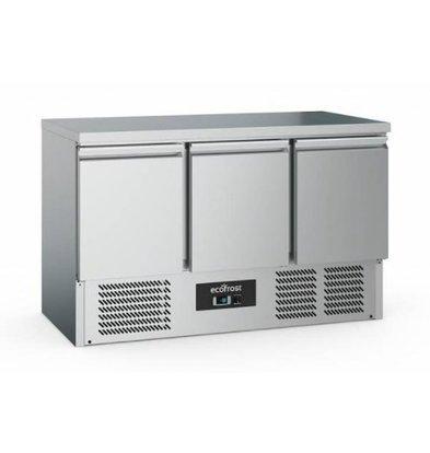 Ecofrost Kühltisch Edelstahl |3 Türen | 368 Liter | 1370x700x(h)850mm