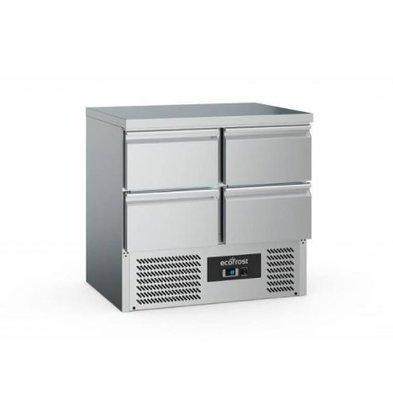 Ecofrost Kühltisch Edelstahl | 4 Schubladen | 220 Liter | 900x700x(h)850mm