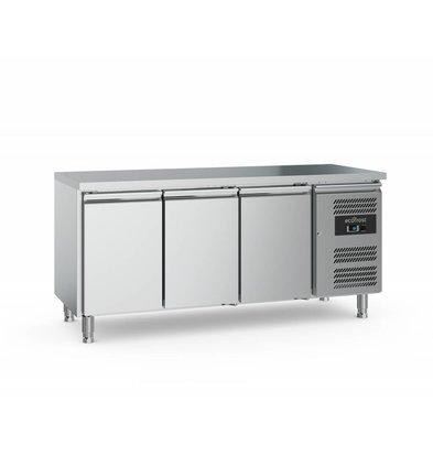 Ecofrost Kühltisch Edelstahl |3 Türen | 417 Liter | 1760x700x(h)850mm