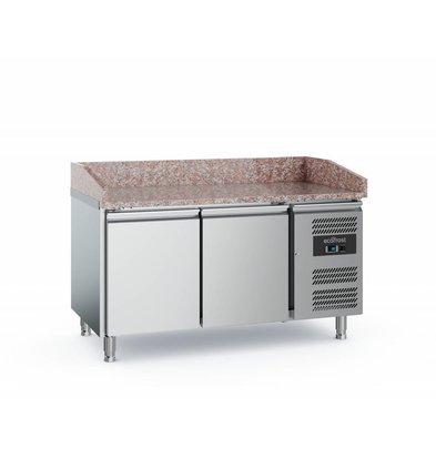Ecofrost Pizzatisch Edelstahl | 2 Türen | 1520x800x(h)1000mm