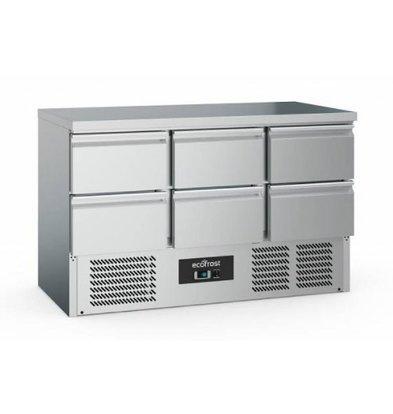 Ecofrost Kühltisch Edelstahl | 6 Schubladen | 368 Liter | 1370x700x(h)850mm