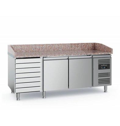 Ecofrost Pizzatisch Edelstahl | 2 Türen+7 Schubladen | 2020x800x(h)1000mm