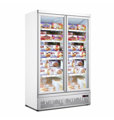 Combisteel Tiefkühlschrank | 2 Glastüre | 1000 Liter | 4 Rollen | 1253x710x(h)1997mm
