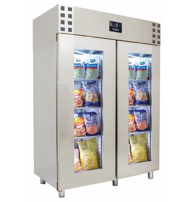 Combisteel Tiefkühlschrank mit Glastüren | 1400 Liter |  Umluft | 1400x810(h)2050mm