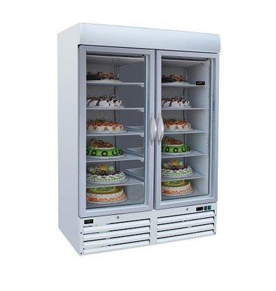 Combisteel Tiefkühlschrank 2 Glastüren | 1079 Liter | Weiß | 1370x700x(h)1990mm