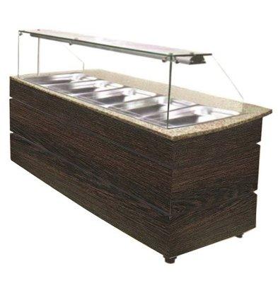 Combisteel Gastro Buffet Wenge | Warm | 5x1/1GN | 3,03kW | 1890x800x(h)1355mm