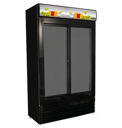 Combisteel Display Kühlschrank schwarz | 2 Schiebetüren | 780 Liter | 1120x595x(h)2100mm | LED