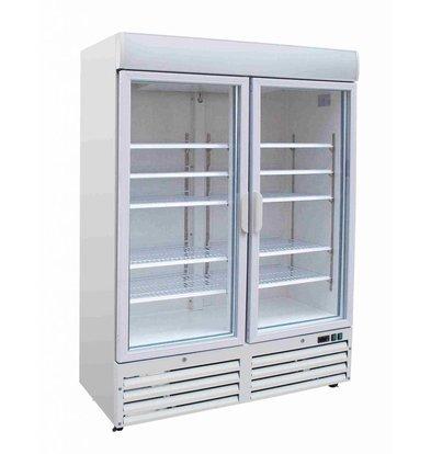 Combisteel Tiefkühlschrank 2 Glastüren | 920 Liter | 1370x720x(h)1990mm | LED | Weiß