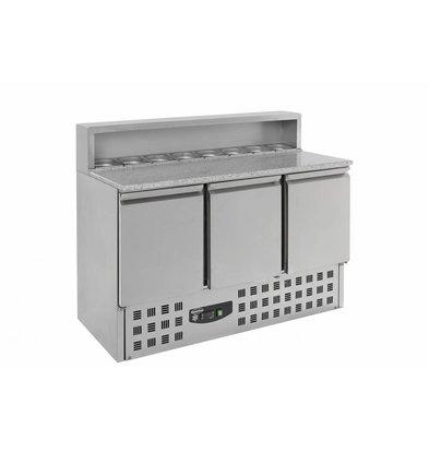 Combisteel Pizzatisch Edelstahl | 3 Türen | 1368x700x(h)1090mm