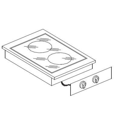 Combisteel Drop-In Keramikherd | 2 Kochflächen | 1x1,8-1x2,5kW | 400x557mm | 230V