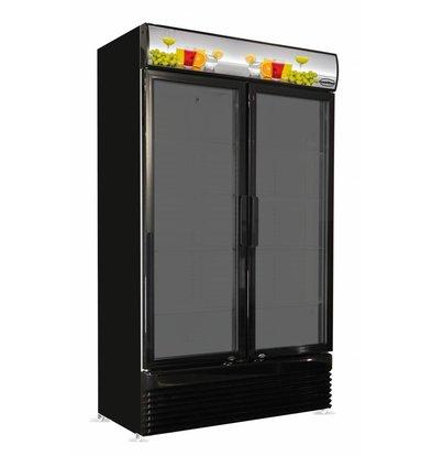 Combisteel Display Kühlschrank schwarz | 2 Glastüren | 780 Liter | 1120x595x(h)2100mm | LED