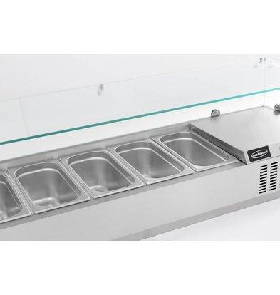 Combisteel Aufsatzkühlvitrine | 6x 1/3GN | 1500x395x(h)435mm |230V-0,34kW