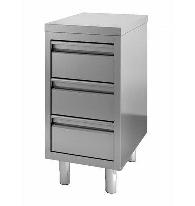 Combisteel Edelstahl Arbeitstschrank | 3 Schubladen  400x700x(h)850mm