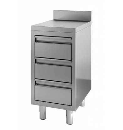 Combisteel Edelstahl Arbeitsschrank mit Aufkantung | 3 Schubladen | 400x700x(h)850mm