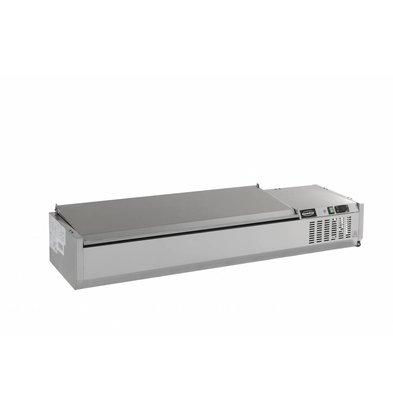 Combisteel Aufsatzkühlvitrine Edelstahl Deckel | 6x 1/4GN | 1500x335x(h)225mm | 230V-0,34kW