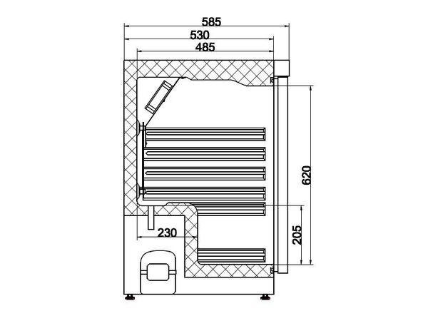 Combisteel Edelstahl Kühlschrank | 130 Liter  600x585x(h)845mm
