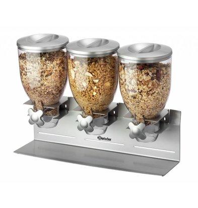 Bartscher Cerealienspender | Kunststoff | 3x 3,5 Liter | 540x170x(h)395mm
