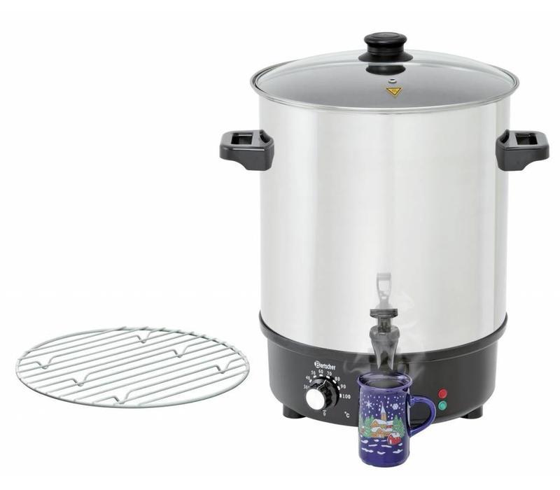 Bartscher Glühwein-Einkochtopf   Glasdeckel   Ø450mm   30 Liter