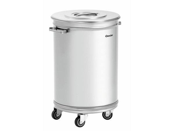 Bartscher Abfalleimer | Abfallbehälter mit Rollen | 56 Liter | 460x400x(h)620-723mm