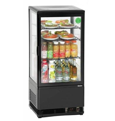Bartscher Mini Kühlvitrine | Schwarz |78 Liter | Umluftkühlung | 435x385x(h)960mm
