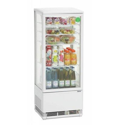 Bartscher Mini Kühlvitrine | Weiß |98 Liter | Umluftkühlung | 425x380x(h)1100mm
