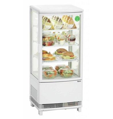Bartscher Mini-Kühlvitrine | Weiß | 86 Liter | 425x435x(h)980mm