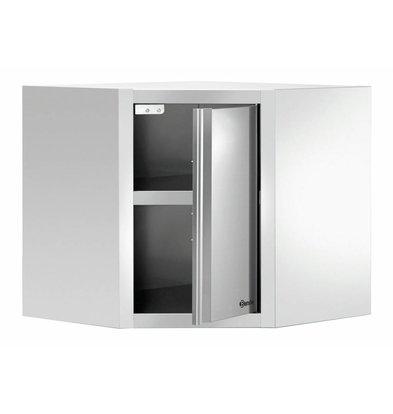 Bartscher Edelstahl Eckhängeschrank mit Tür | 700x700X(h)660mm