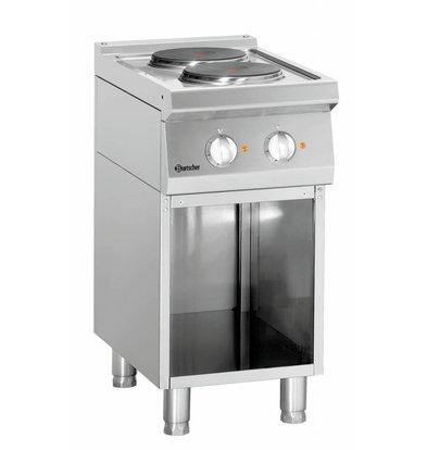 Bartscher Elektroherd 700 Serie | Unterbau offen | 2 Kochstellen rund | 400x700x(h)850-900mm