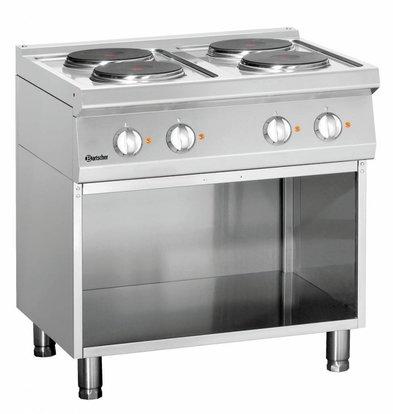 Bartscher Elektroherd 700 Serie | Unterbau offen | 4 Kochstellen rund | 800x700x(h)850-900mm