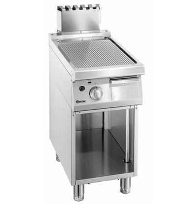 Bartscher Gas-Grillplatte 700 Serie | Unterbau offen | gerillt | 400x700x(h)850-900mm