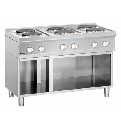 Bartscher Elektroherd 700 Serie | Unterbau offen | 6 Kochstellen rund | 1200x700x(h)850-900mm