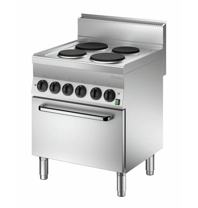 Bartscher Elektroherd 650 Serie | Elektrobackofen | 4 Kochstellen rund | 700x650x(h)870mm