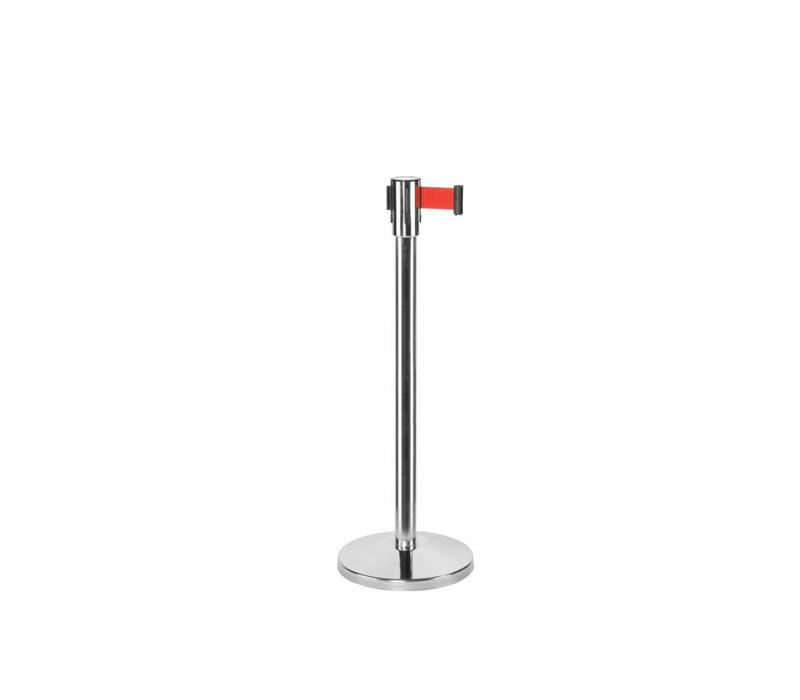 Saro Absperrpfoste Chrom 9 Kg | Gurt 180cm Rot