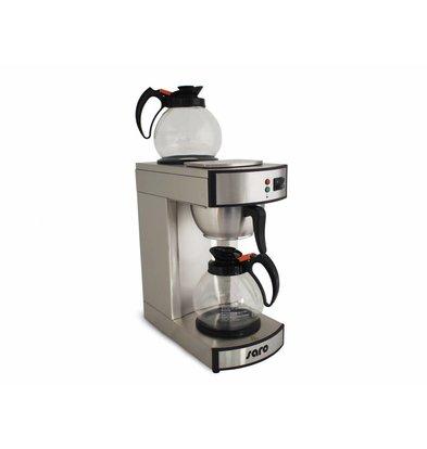 Saro Kaffemaschine Edelstahl | 1,8 Liter | Inkl. 2 Glaskannen | 195x365x(h)445mm