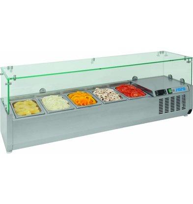 Saro Aufsatzkühlvitrine Glas-Top | 955x380x(h)435mm | 9x 1/3 GN oder 18x 1/6GN