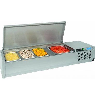Saro Aufsatzkühlvitrine | 4x1/3GN | Edelstahl Deckel | 1200x395x(h)280mm
