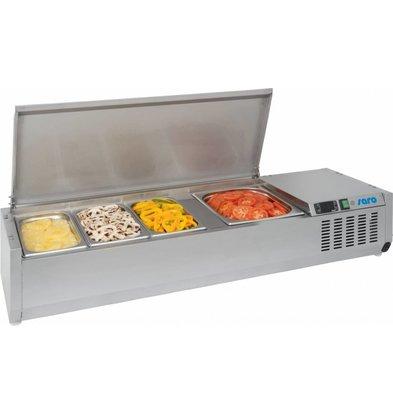 Saro Aufsatzkühlvitrine | 6x 1/3GN | Edelstahl Deckel | 1500x395x(h)280mm