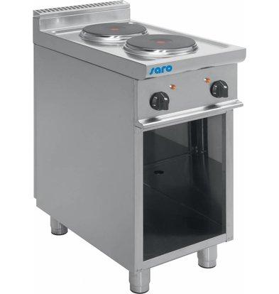 Saro Elektroherd | 2 Kochplatten | Casta Unterbau | 2 x 2,6 KW | 400V | 400x700x(h)850 mm