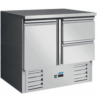 Saro Kühltisch Edelstahl   Tür+ 2 Schubladen   900x700x(h)850/880mm