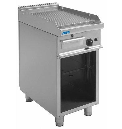 Saro Gas Grillplatte gerillt | Casta Unterbau offen | 400x700x(h)850mm | 6kW
