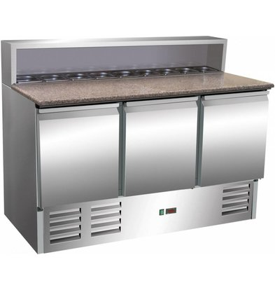Saro Edelstahl Pizzatisch 3-Türig | 8x 1/6GN | 1370x700x(h)1100mm